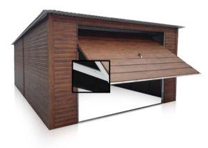 Garaż 4x6m méretben, hátra lejtő tetővel - sötét matt dió színben