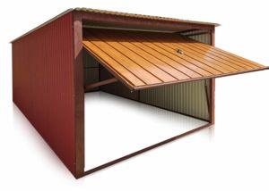 Lemezgarázs 3x5-ös méretben, hátra lejtő tetővel