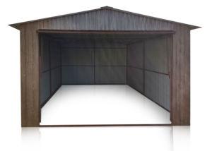 Nyeregtetős mobilgarázs 3,5x5m méretben, garázs színe - fényes dió, billenőkapu RAL 9010-es színben